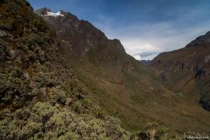 View of Bujuku Hut from Scott Elliot Pass, Rwenzori, Uganda